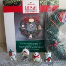 1990 Memory Wreath  frosty and friends, with ornaments  frosty, seal, bear, husky dog