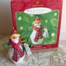 2001 Hallmark Daughter Snowman Christmas Ornament Skis