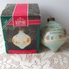 1992 first in the Betsey's Country Christmas Series Hallmark Aqua Glass Teardrop Ornament