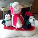 Jingle Pals Snow what Fun Sledders 2007 Snowman Dog Penguin plush animated