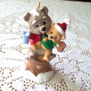 Grandpa with Cookies and Milk baby bear 1995 Hallmark Christmas Ornament