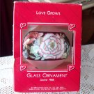 Hallmark Glass Teardrop Ornament Love Grows 1988 floral