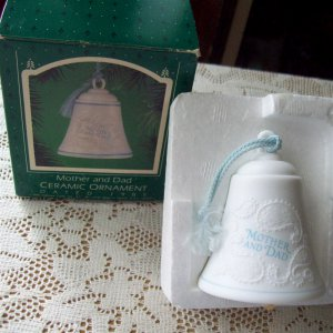 1985 Bell Mother and Dad Hallmark Christmas Ornament Blue on White