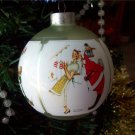 Norman Rockwell 1983 Santas Coming Hallmark Christmas Ornament Green Glass Ball Old Fashion Vintage