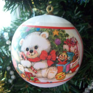 White Satin Ball Babys First Christmas In French 1985 Alderbrook Noel De Babe