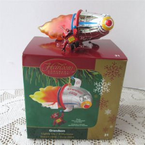 2006 Grandson Carlton Lights Up Rocket Ship Robot Christmas Ornament