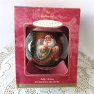 Jolly Visitor Hallmark Glass Ball Christmas Ornament 2001 Santa