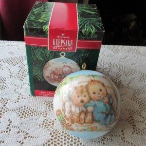Baby Boy Hallmark Babys First Christmas 1991 Satin Ball