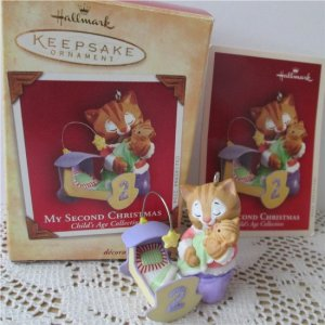 2nd Christmas Childs Age Collection Hallmark Baby Girl 2004 Kitten Ornament