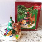 Carlton Rudolph's Brightest Christmas 2002 Lighted Ornament Red Nosed Reindeer