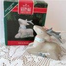 Folk Art Reindeer Hand-Carved Wood Hallmark Ornament 1991