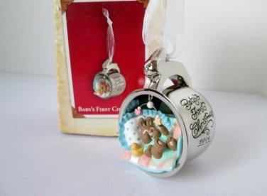 Babys First Christmas 2004 Silver Cup Bunny Hallmark Ornament