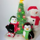 Hallmark Very Merry Trio Jingle Pals 2006 Penguins Snowman plush Rockin Round the Christmas Tree