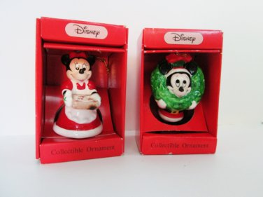 Schmid Walt Disney Mickey and Minnie Ornaments 1989 Collectible Holiday Tree Decoration