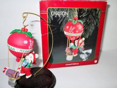 Carlton Airmail Delivery 1993 Christmas Ornament Thimble Hot Air Balloon