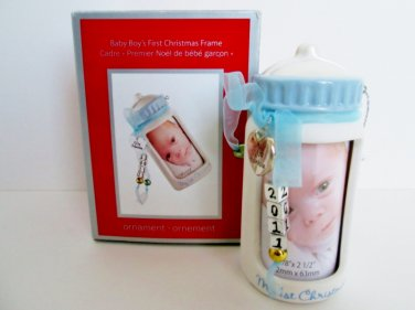 Carlton 2011 Baby's First Christmas Heirloom Ornament Baby Boy Picture Frame Bottle