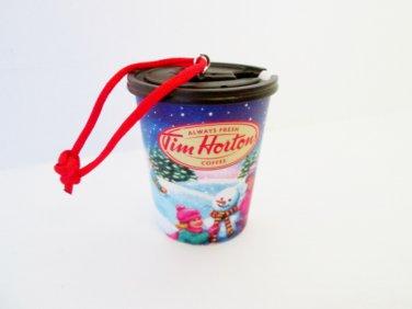 Tim Hortons 2013 Coffee Cup Winter Hockey Scene Christmas Ornament