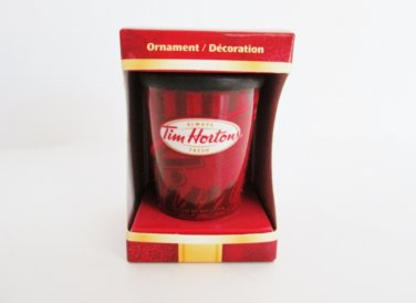 Tim Hortons Red Coffee Cup Travel Mug, 2010 Christmas Ornament Red Cup Take Out