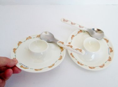Bunnykins Egg Cups and spoons 2001 Royal Doulton Running Bunnies Baby Plates
