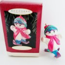 Sister Hallmark 1995 Christmas Red and Blue Girl Skiing Ornament Sports