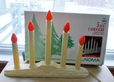 Noma 5 Light Candelabra Electric Candolier Cream White Candles