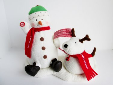 Jingle Pals 2004 Singing Snowman Dog Hallmark Animated plush Dance, Sing and Bark to Jingle Bells