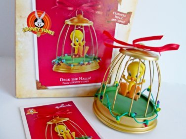 Looney Tunes Tweety, Deck the Halls Hallmark Ornament Features Music and Voice 2004