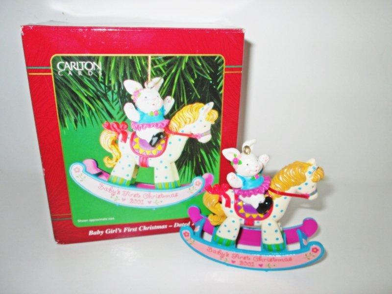 2001 Carlton Baby Girls First Christmas Ornament Bunny Rabbit on a Rocking Horse, Polka Dot Pony