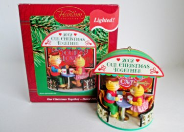 Carlton 2002 Our Christmas Together Bears at a Cafe Mugs of Yuletide Cheer Anniversary