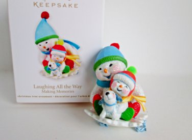 Laughing All the Way 2011 4th in Series Snowman sledding Hallmark Christmas Ornament
