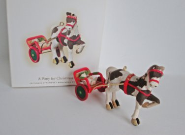 A Pony for Christmas Tenth in Series 2007 Hallmark Ornament dappled with cart