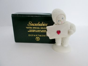 Dept 56 Snowbabies Extra Special Delivery Swarovski Red Christmas Stone