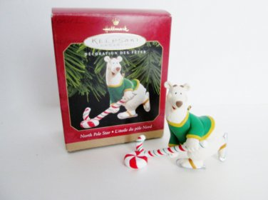 North Pole Star Hallmark Christmas Ornament Hockey playing Polar Bear 1999 Winter Sports