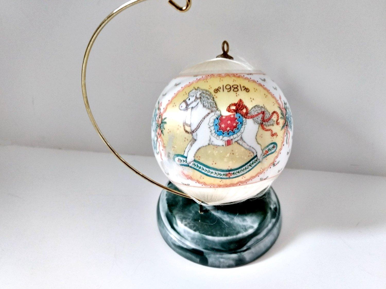 Granddaughter 1981 Hallmark Satin Ball Ornament Rocking Horse
