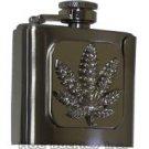 Rhinestone Pot Leaf Liquor Flask Belt Buckle
