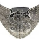 Silver Dollar Sign and Wing Lighter Belt Buckle