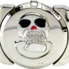 Chrome Black Red Enameled Skull Lighter Belt Buckle