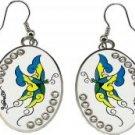 Ed Hardy Butterfly Oval Clear Crystal Earrings