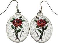 Ed Hardy Roses Oval Earrings, Brand New
