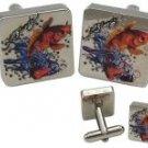 Ed Hardy Koi Fish Silver Cuff Links, Brand New