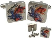 Ed Hardy Koi Fish Silver Cuff Links, Brand New