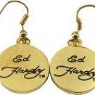 Ed Hardy Gold Logo Earrings, New