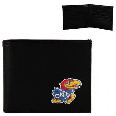 Kansas Jayhawks Mens Black Leather Bifold Wallet