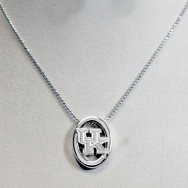 Kentucky Wildcats Silver Tone UK Charm Necklace