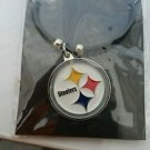 Pittsburgh Steelers Black Rubber with Large Pendant Necklace