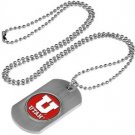 Utah Utes Dog Tag with a embedded collegiate medallion