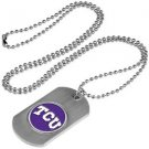 TCU Texas Christian Horned Frogs Dog Tag with a embedded collegiate medallion