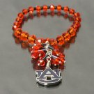 Auburn Tigers Licensed Ncaa Glass Beads With Charm Crystal Bracelet