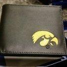 Iowa Hawkeyes Mens Black Leather Bi-fold Wallet