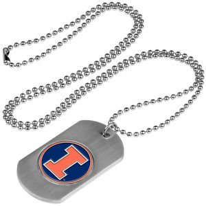 Illinois Fighting Illini Dog Tag with a embedded collegiate medallion